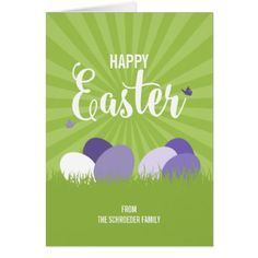Easter greeting children playing easter card ultra violet green happy easter greeting card negle Gallery