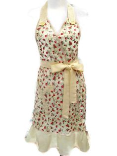 Retro Style Womens Apron Yellow Apron with Red by GiveAMiracle