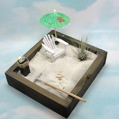 miniature zen beach garden air plant adirondack chair  by EnchantingGardenArt