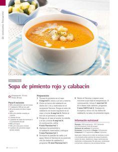Sopa de pimiento rojo y calabacin