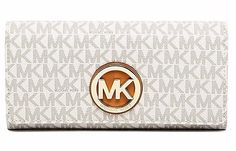 Michael Kors Woman Wallet With Fulton Logo & Classic Vanilla Color New Michael Kors Fulton, Handbags Michael Kors, Lululemon Logo, Wallets For Women, Continental Wallet, Vanilla, Classic, Leather, Color