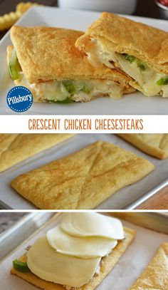 This Crescent Chicken Cheesesteaks bring on the Phillly flavors. Loaded with chicken, caramelized onions, green peppers and ooey gooey provolone cheese! These are out of this world! Tip: You can add sliced fresh mushrooms for a more hearty bite.