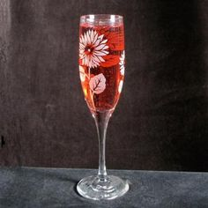 Champagne Glasses, Sunflowers, Etched Glass