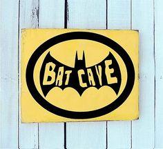 BAT CAVE Man Cave wood New wall sign hang vintage by Royalkane, $14.99