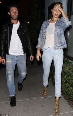 Where is the love?:  Adam Levine looked annoyed as he left Osteria Mozzawith wife Behati ...