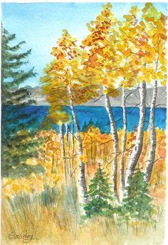 Aspen by the Lake - Lake Tahoe California Fall trees  (Item LS-12)
