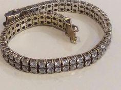 Vintage Sterling Swarovski  Modernist Deco Diamond Crystal Designer Bracelet