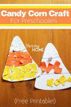 Candy corn Halloween craft for preschoolers.