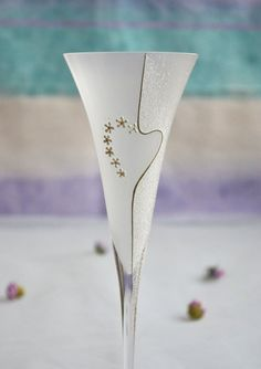 Wedding glasses Hand decorated toasting flutes Frosted