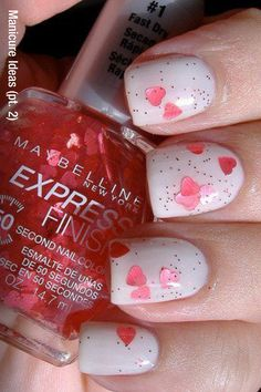 valentine nail art...but more of the glittery hearts!!!!