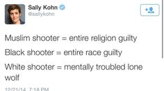 Sally Kohn for the win.>>> It's so easy to portray another race as villains while the gullible never actually want to see the facts.