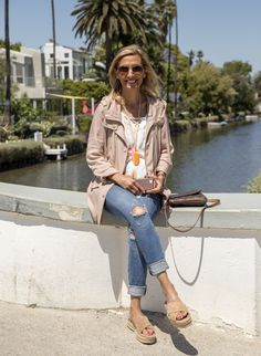 Read my blog story about our visit to Venice Canals wearing our Taupe Cargo jacket and white cold shoulder top both available in our shop www.jacketsociety.com