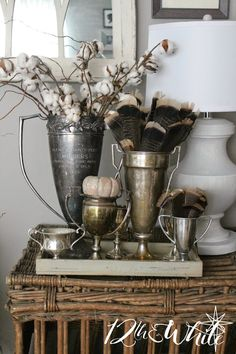 Shabby Chic Decorating Ideas For Living Rooms if Home Decor Ideas Pic above Vintage Shabby Chic Pressed Glass Goblets Pink Old Trophies, Trophy Cup, Vibeke Design, Deco Nature, Silver Trays, Silver Plate, Tarnished Silver, My New Room, Vintage Silver