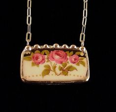 Art Nouveau roses broken china jewelry