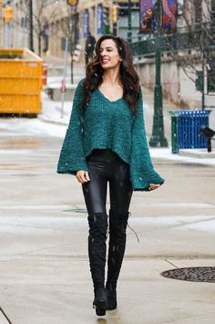 Check out this cozy Free People Sand Dune green cropped sweater from Nordstrom + these Spanx faux leather leggings with over-the-knee boots. This whole outfit is affordable, cozy, and trendy for these cold winter days!