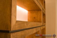 detail of corner, face frame and black spacer runner on stacking modular furniture cabinets