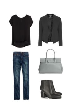 Minimal Wardrobe Spring Outfits inspiration: Black T-shirt, Black free fall blazer, comfortable size gray bag, Bootcut Jeans in dark blue classical color, black boots;