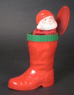 Vintage Christmas Santa's Boot with Surprise Pop Up Santa Claus Hard Plastic USA