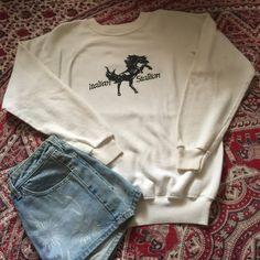 80s White ITALIAN STALLION vintage sweatshirt awesome 80s sweatshirt in excellent condition // size medium Vintage Tops Sweatshirts & Hoodies