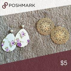 Set of two earrings Set of two earrings. Set on left is silver; lighting makes hem appear gold! Jewelry Earrings