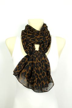 Leopard Print Scarf - Brown Leopard Scarf - Animal Print Scarf - Printed Fabric Scarf - Women Fashion Accessories - Boho Gift Idea for her