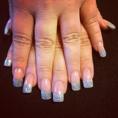 Nailsbyjune.com rock hard acrylic with Tammy Taylor tinsel & sparkle silver dazzle rock acrylic tips