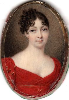 Hair arranged to one side at the back. Charles Berny d'Ouvillé, Woman in red, 1810
