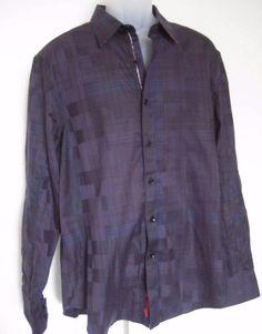49ba48fb Details about Robert Graham Sport Shirt Size XL Blue Brown Plaid Squares  with Skeleton Logo