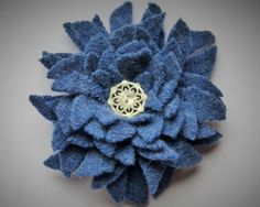 Sew on fabric flower blue felt with white cut by WoolenBlooms