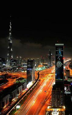 ˚Streets on fire - Dubai Wonderful Places, Beautiful Places, Beautiful Pictures, Beautiful Scenery, Amazing Places, Best Places To Travel, Places To See, Cityscape Dubai, Dubai Nightlife