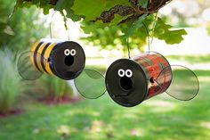 How to make Bumble Bee & Lady Bug BIRD FEEDERS from recycled paint cans - Cute :-)