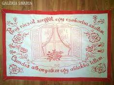 Falvedo: Piros rozsat, szegfut, egy csokorba szedtem, Csendes alkonyatkor egy ablakba tettem Tapestry, Embroidery, Tricot, Hanging Tapestry, Tapestries, Needlepoint, Wallpapers, Rug Hooking, Crewel Embroidery