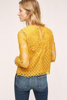 Carmen Lace Blouse, Yellow