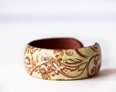 Floral Swirls Bangle Copper and Cream by BeauMiracleJewelry