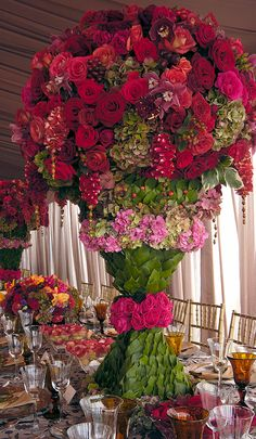 Preston Bailey Design ~ Centerpiece For a Caribbean Beach Front Reception Floral Centerpieces, Wedding Centerpieces, Wedding Decorations, Table Decorations, Centerpiece Ideas, Tall Centerpiece, Wedding Tables, Flower Decorations, Preston Bailey