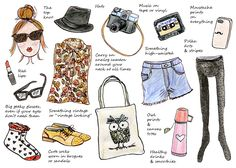 """The article is called: """"How To Dress Like A Hipster"""", but what I'm sharing it for is the cute illustration :) Sweet and girlish."""