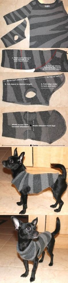 "22 DIY Ideas to Create Dog Sweater. I said I'd never have a dog that wore ""clothes"". But, she actually does get cold and really seems to appreciate her sweaters… and jackets… and... #dogdiyideas"