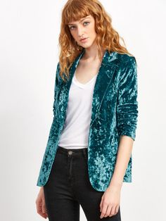 Shop Blue One Button Crushed Velvet Blazer online. SheIn offers Blue One Button Crushed Velvet Blazer & more to fit your fashionable needs.
