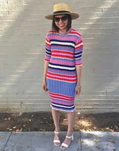 23fddd60 Celine striped jacquard knit dress, Janessa Leone klint straw hat, Maryam  Nassir Zadeh sophie