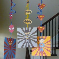 Super Hero birthday hanging decorations by TresChicPartyDesigns