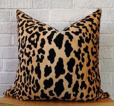 Velvet Cheetah Pillow Cover - Square leopard black gold animal print