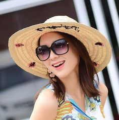 Butterfly embroidered straw hat for women khaki wide brim sun hats