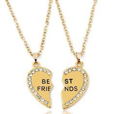 Check out our Best Friends Necklace Split Heart 2 Gold Pendants