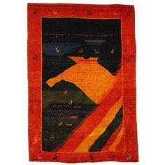 Herat Oriental Persian Hand-knotted Gabbeh Green/ Rust Wool Rug (4'6 x 6'8)