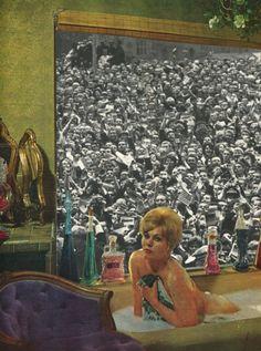 ' The downside to fame ' Collage on paper © Sammy Slabbinck 2013 porfolio / society6.com / facebook / flickr