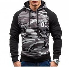 Military style camo hoodie for men baseball style hooded sweatshirts