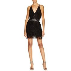 Product Image: Dress The Population Womens Alexis Sequined Fringe Cocktail Dress