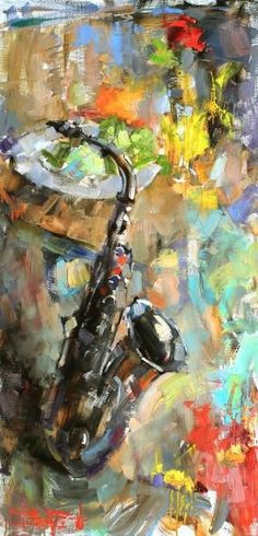 Saxophone in a painting! Music Painting, Music Artwork, Musical Instruments Drawing, Jazz Art, Art Folder, Music Images, Art Plastique, Black Art, Unique Art