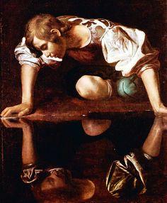 Narcissus -  Caravaggio, 1597-1599   Oil on canvas -  110 × 92 cm   Galleria Nazionale d'Arte Antica