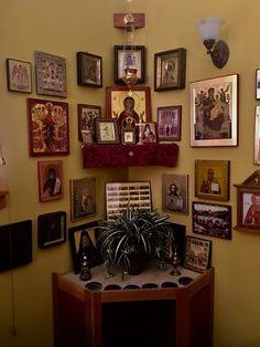 A Christian Home – The Morning Offering Prayer Corner, Prayer Wall, Prayer Room, Temple Design For Home, Catholic Altar, Altar Design, Home Icon, Orthodox Icons, Christian Inspiration